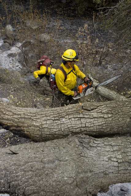 [Wildfires] Pauma, CA, November 9, 2007 -- La Jolla Indian Reservation, Bureau of Indian Affairs (BIA) Firefighters work with the Burned Area Emergency Response (BAER) team to clear branches and brush from culverts in an effort to reduce flood risk and control erosion following the Southern California Fires. The fires burned 92% of the La Jolla Reservation land.  Susie Shapira/FEMA
