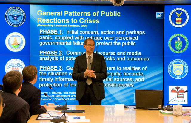 Washington, DC, December 6, 2007 ---  FEMA Deputy Administrator and Chief Operating Officer Harvey Johnson welcomes the Public Relations Society of America members who have come to FEMA headquarters to give a work shop for FEMA Public Information and External Affairs Officers.  FEMA/Bill Koplitz