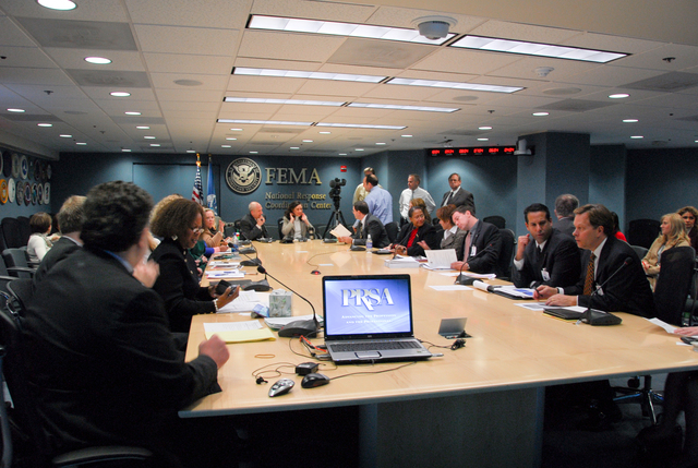 Washington, DC, December 6, 2007 -- The Public Relations Society of America visited FEMA headquarters to give a workshop to FEMA Public Affairs and External Affairs Officers.  FEMA/Bill Koplitz