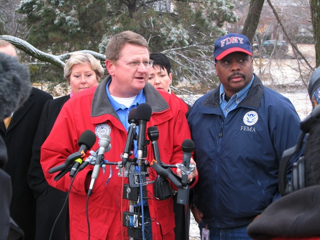 [Severe Winter Storms] Oklahoma City, OK, 12/12/2007 -- Albert Ashwood, Director of Oklahoma Department of Emergency Management (left), and Phillip Parr, FEMA Federal Coordinating Officer (right), answer reporters' questions about recovery efforts in the wake of the December 8 ice storm. Earl Armstrong/FEMA
