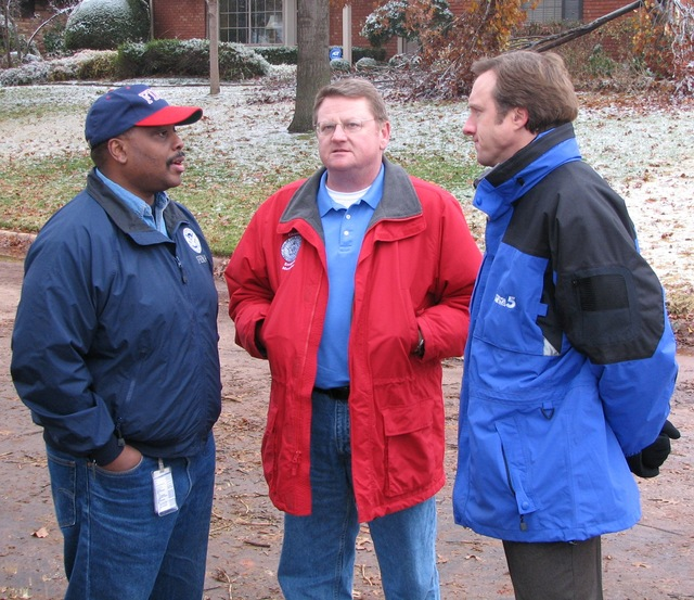 [Severe Winter Storms] Oklahoma City, OK, December 12, 2007 -- FEMA Federal Coordinating Officer Phil Parr and Albert Ashwood, director of the Oklahoma Department of Emergency Management respond to a reporter's question during a tour of a neighborhood hit by the December 8 ice storm. Earl Armstrong/FEMA