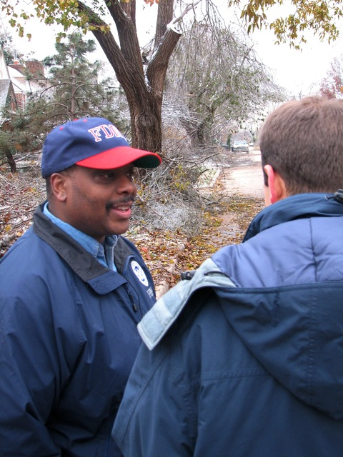 [Severe Winter Storms] Oklahoma City, OK, December 12, 2007 -- FEMA Federal Coordinating Officer Phil Parr discusses recovery efforts with a reporter during a tour of an Oklahoma City neighborhood hit hard by the December 8 ice storm. Earl Armstrong/FEMA