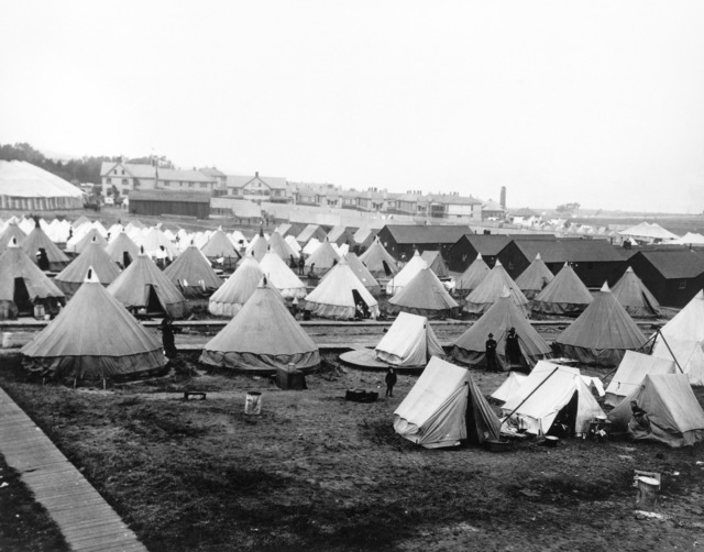 After the quake, the US Army took in many of the cities refugees at the Presidio and set them up in tent cities. This appears to be the Women and Childrens section. On April 18, 1906 at 5:15 AM a quake of 8.25 on the Richter scale hit San Francisco. Greater destruction came from the fires afterwards. The city burned for three days. The combination destroyed 490 city blocks and 25,000 buildings, leaving 250,000 homeless and killing between 450 and 700. Estimated damages, over $350 million