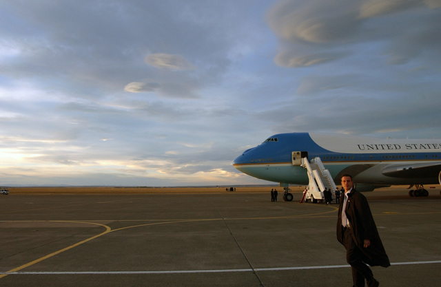 Air Force One, a VC-25A presidental air transport aircraft, sits on the flight line at Great Falls International Airport Air Guard Station, Mont., while waiting for the arrival of U.S. President George W. Bush on Feb. 3, 2005. Great Falls was one of five cities visited by the President for Town Hall meetings on social security issues following his State of the Union Address. (U.S. Air Force PHOTO by TECH. SGT. Roger M. Dey) (Released)