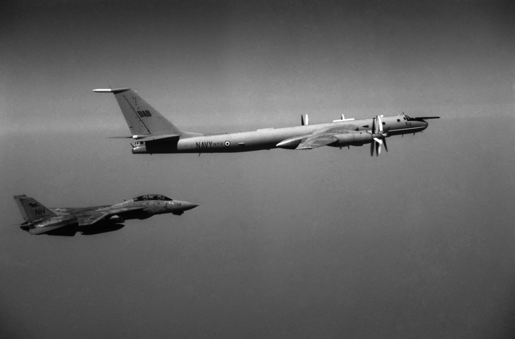 An air-to-air right side view of an Indian Navy Soviet-made Tu-142 Bear F reconnaissance aircraft, top, and a U.S. Navy F-14A Tomcat from Fighter Squadron 114 (VF-114), bottom. OFFICIAL U.S. NAVY PHOTO (RELEASED)