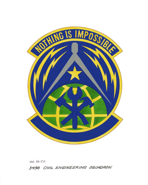 Approved insignia for: 3498th Civil Engineering Squadron OFFICIAL U.S. AIR FORCE PHOTO (RELEASED)