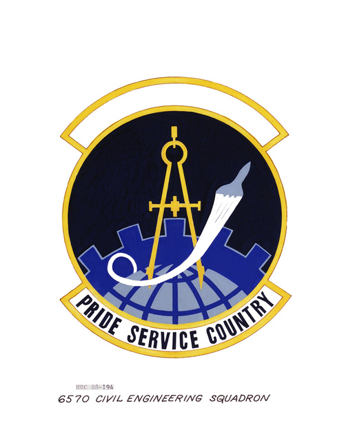 Approved insignia for: 6570th Civil Engineering Squadron OFFICIAL U.S. AIR FORCE PHOTO (RELEASED)