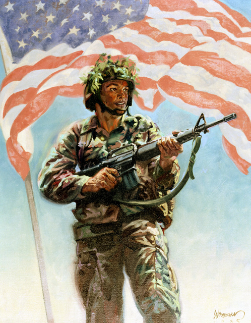 "Artwork: ""Today's Army - Proud and Ready"" 1985. Artist: William Woodward. Catalog Number: 7.5.85"