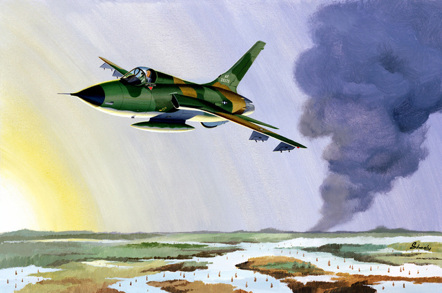 F-105 Over Rice Paddies, Vietnam Artist: Shealy. Exact date shot unknown