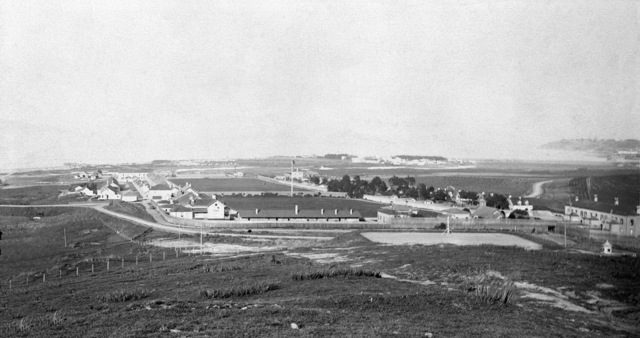 General view (looking northeast) Headquarters Presidio Reservation, San Francisco, California. Parade ground located in center. Date estimated 1900