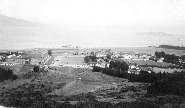 General view (looking northeast) Headquarters Presidio Reservation, San Francisco, California. Parade ground located in center. Date approximately 1890