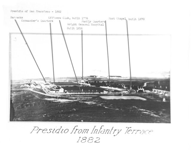 General view of the Presidio from Infantry Terrace in 1882. Image points out and names different buildings on the post