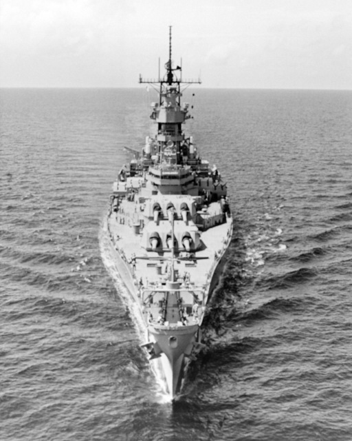 Ingalls Shipbuilding, Inc. Gulf of Mexico....A bow view of the battleship Wisconsin (BB-64) underway during sea trials. OFFICIAL U.S. NAVY PHOTO (RELEASED)