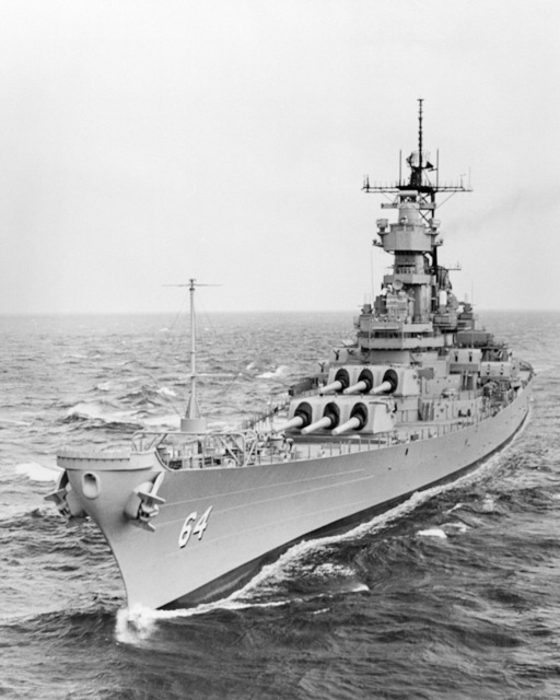 Ingalls Shipbuilding, Inc. Gulf of Mexico....A port bow view of the battleship Wisconsin (BB-64) underway during sea trials. OFFICIAL U.S. NAVY PHOTO (RELEASED)