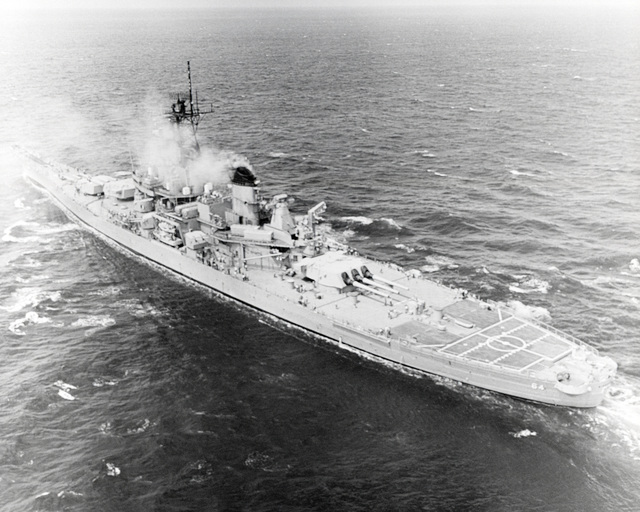 Ingalls Shipbuilding, Inc. Gulf of Mexico....A port quarter view of the battleship Wisconsin (BB-64) underway during sea trials. OFFICIAL U.S. NAVY PHOTO (RELEASED)