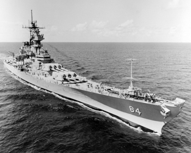 Ingalls Shipbuilding, Inc. Gulf of Mexico....A starboard bow view of the battleship Wisconsin (BB-64) underway during sea trials. OFFICIAL U.S. NAVY PHOTO (RELEASED)
