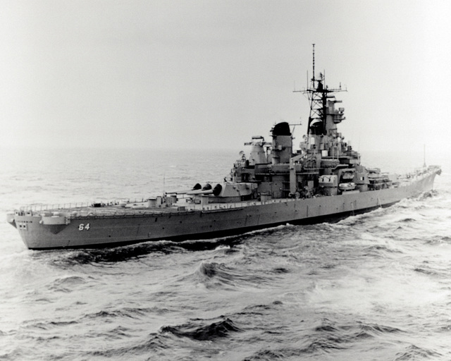 Ingalls Shipbuilding, Inc. Gulf of Mexico....A starboard quarter view of the battleship Wisconsin (BB-64) underway during sea trials. OFFICIAL U.S. NAVY PHOTO (RELEASED)