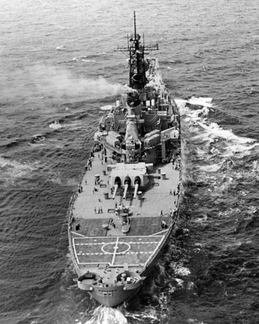 Ingalls Shipbuilding, Inc. Gulf of Mexico....A stern view of the battleship Wisconsin (BB-64) underway during sea trials. OFFICIAL U.S. NAVY PHOTO (RELEASED)