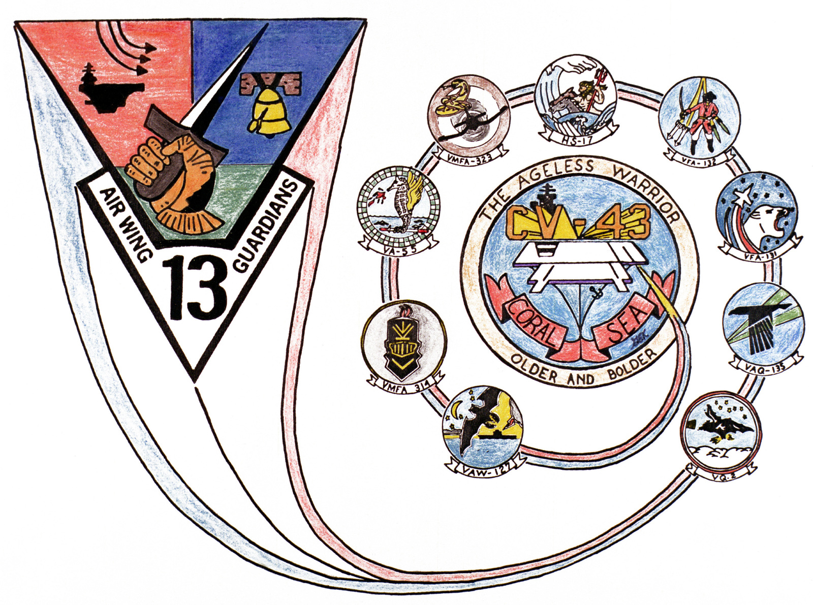 insignia for  carrier air wing 13  its component squadrons and the ship u0026 39 s logo for the aircraft
