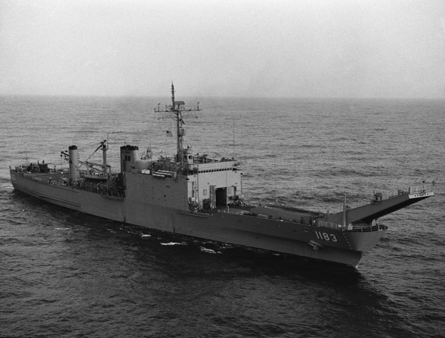 J02 Hardman Mediterranean Sea....A starboard bow view of the tank landing ship USS Peoria (LST-1183). OFFICIAL U.S. NAVY PHOTO (RELEASED)