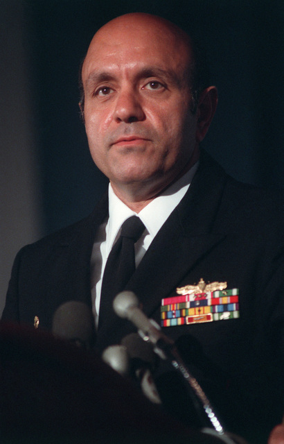 JOSN Oscar Sosa Norfolk, Va....CAPT. Fred P. Moosally, commanding officer of the battleship USS Iowa (BB-61), speaks during a press conference several days after 47 crew members were killed in an explosion aboard the ship. The explosion occurred in the No. 2 16-inch gun turret as the Iowa was conducting routine gunnery exercises approximately 300 miles northeast of Puerto Rico on April 19th. OFFICIAL U.S. NAVY PHOTO (RELEASED)