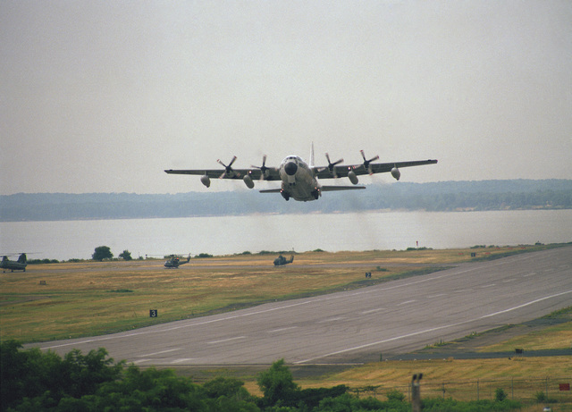 Lance CPL. E.S. Hansen Quantico, Va....A KC-130 Hercules aircraft takes off during a demonstration for Airshow '88. OFFICIAL U.S. MARINE CORPS PHOTO (RELEASED)