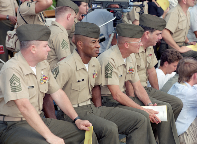 Lance CPL. E.S. Hansen Quantico, Va....Non-commissioned officers watch a change of command ceremony during which Brig. GEN. Gail M. Reals assumes command of Marine Corps Base, Quantico, upon the retirement of LT. GEN. Frank E. Petersen Jr. OFFICIAL U.S. M