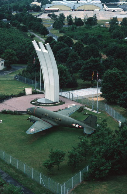 MASTER SGT. Patrick H. Nugent Rhein-Main Air Base, West Germany....An aerial view of the Airlift Memorial. OFFICIAL U.S. AIR FORCE PHOTO (RELEASED)