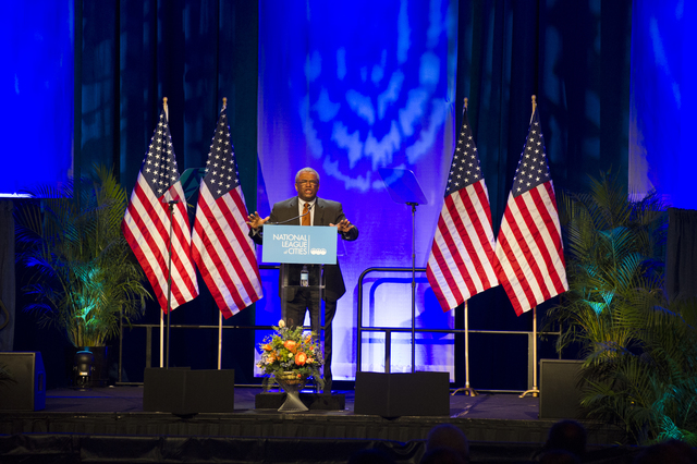 National League of Cities Congressional City Conference, Marriott Wardman Park Hotel, Washington, D.C., with Deputy Secretary Ron Sims and First Lady Michelle Obama [among the dignitaries delivering addresses]