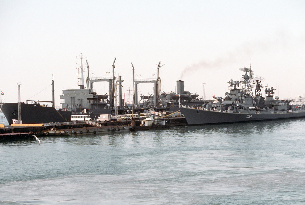 PH1 Dewayne B. Smith Bahrain....A port bow view of the Soviet-built, Indian oiler INS Shakti (A-57) and the Soviet-built, Indian guided missile destroyer INS Ranvir (D-54) tied up at a pier. OFFICIAL U.S. NAVY PHOTO (RELEASED)