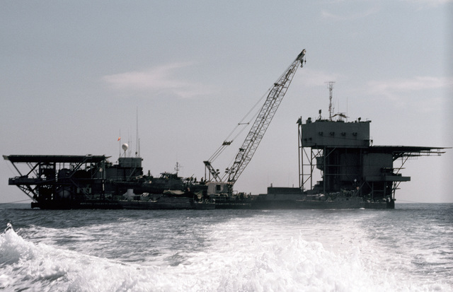 PH1 DeWayne Smith Persian Gulf....A view of the barge Wimbrown 7. OFFICIAL U.S. NAVY PHOTO (RELEASED)