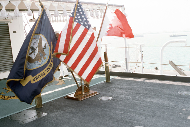 PH1 DeWayne Smith Persian Gulf....A view of the quarterdeck area of the miscellaneous flagship USS La Salle (AGF-3) equipped for a ceremony aboard the ship. OFFICIAL U.S. NAVY PHOTO (RELEASED)