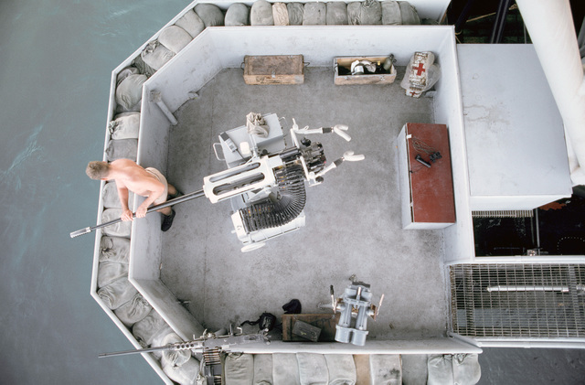 PH1 DeWayne Smith Persian Gulf....An overhead view of a Mark 68 20mm gun aboard the barge Wimbrown 7. OFFICIAL U.S. NAVY PHOTO (RELEASED)