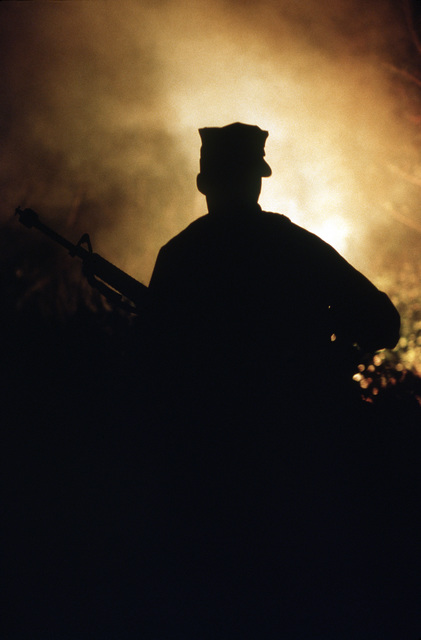 PH1 Ted Salois Tinian, Marianas Islands....A Marine is silhouetted by a burning flare as he moves toward a Seabee camp during exercise Kennel Bear '89. Marines from Marine Barracks Guam are acting as aggressors against Seabees from Navy Mobile Construction Battalion 3 and Marines from the 3rd Force Service Support Group. OFFICIAL U.S. NAVY PHOTO (RELEASED)