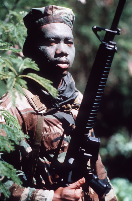 PH1 Ted Salois Tinian, Marianas Islands....Marine PFC. Edwin Childs, his face smeared with camouflage paint, stands in the jungle with his M-16A2 rifle during exercise Kennel Bear '89. PFC. Childs and other Marines from Marine Barracks Guam are acting as aggressors against Seabees from Navy Mobile Construction Battalion 3 and Marines from the 3rd Force Service Support Group. OFFICIAL U.S. NAVY PHOTO (RELEASED)
