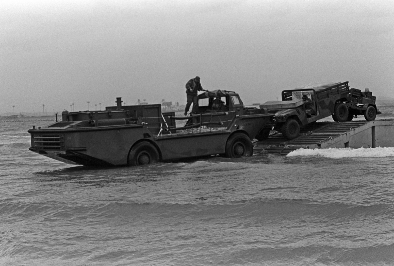PHC Chet King     A LARC-5 amphibious cargo carrier moves into