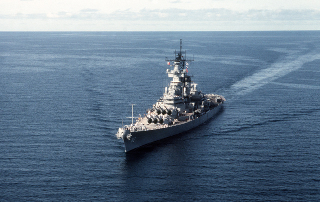 PHCS Ron Bayles Subic Bay, Philippines....A port bow view of the battleship USS New Jersey (BB-62) entering port. OFFICIAL U.S. NAVY PHOTO (RELEASED)