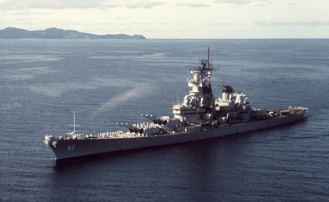 PHCS Ron Bayles Subic Bay, Philippines....A port bow view of the battleship USS New Jersey (BB-62) underway. OFFICIAL U.S. NAVY PHOTO (RELEASED)
