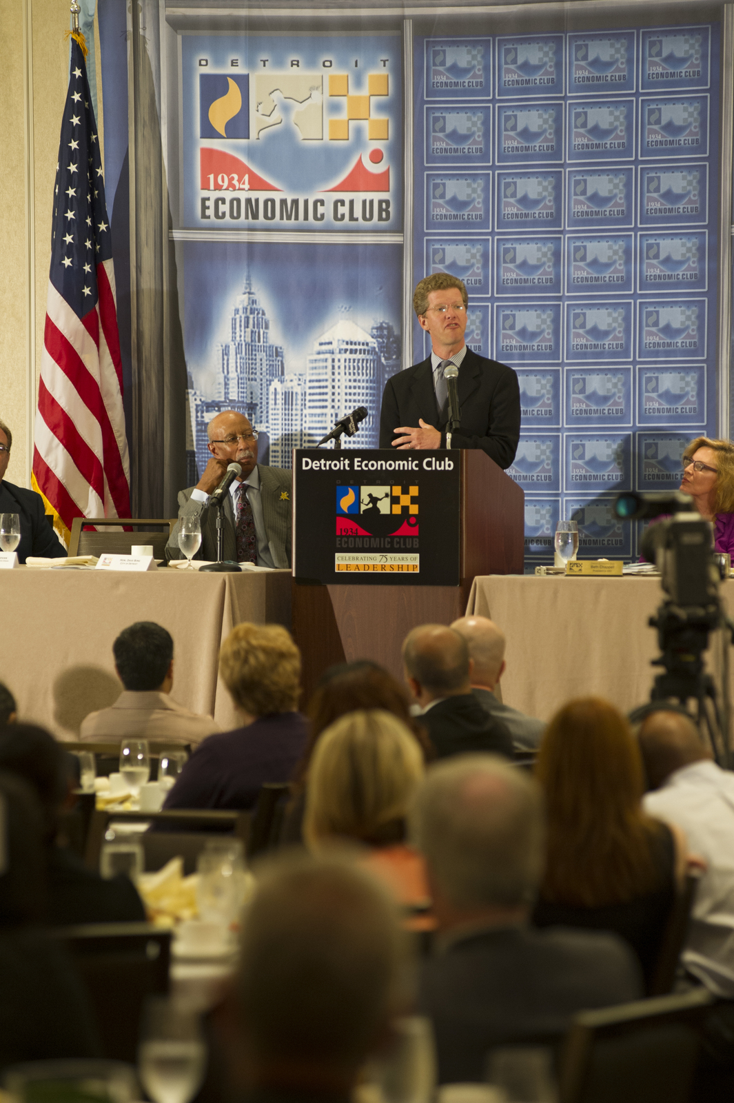 """Secretary Shaun Donovan in Detroit, Michigan, [where he met and held a press conference with Detroit Mayor Dave Bing and other city leaders, and spoke at the Detroit Economic Club on the challenges facing older industrial cities and the new, interagency approaches being applied to solve those problems: """"Toward a New Economic Engine: Rebuilding the Cities That Built America with the Next Generation of Civic Leaders""""]"""