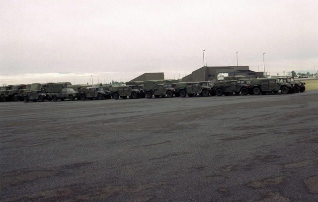 SPEC. Brian Cumper Gallatin Airfield, Montana....M-998 high-mobility multipurpose wheeled vehicles and 1-1/4-ton cargo trucks stand ready for transportation to Yellowstone National Park, Wyo., where they will be used in firefighting efforts. OFFICIAL U.S