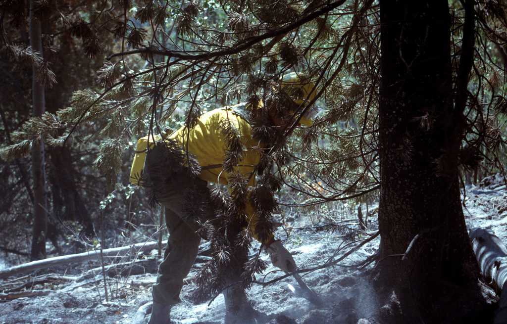 SPEC. Brian Cumper Wyoming....A firefighter shovels ground on the smoldering remains of a fire in Yellowstone National Park. OFFICIAL U.S. ARMY PHOTO (RELEASED)