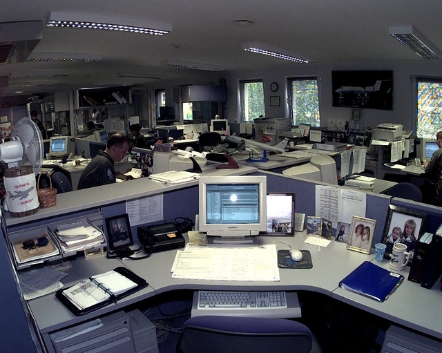 The Airlift Center of the AMOCC (Air Mobility Operations Control Center) at Ramstein Air Base, Germany. This mission is in direct support of Operation Allied Force