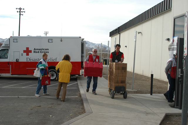 [Severe Winter Storms and Flooding] Fernley, NV, January 11, 2008 -- Red Cross staff are ending this days activity and returning materials to the Red Cross Operations Center located at the Fernley High School.  Red Cross and FEMA are partners in helping residents who have been affected by this disastrous flood.  George Armstrong/FEMA