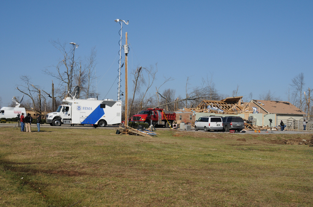 [Severe Storms, Tornadoes, Straight-line Winds, and Flooding] Lafayette, TN, February 8, 2008 -- This FEMA Mobile Emergency Response Support (MERS) Initial Response Vehicle (IRV) has been activated from the MERS-Thomasville, GA team, providing support to the FEMA FIRSTeam in uploading live video feed to FEMA headquarters to help critical early stage planning and preparation.  George Armstrong/FEMA
