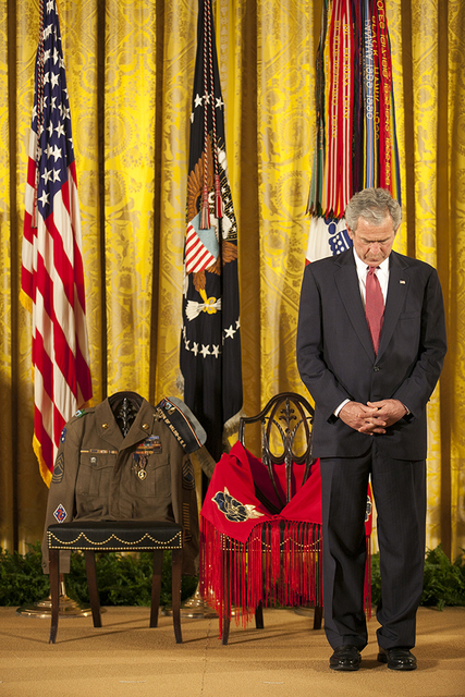 President George W. Bush at the 2008 Medal of Honor Ceremony Honoring U.S. Army Master Sgt. Woodrow Wilson Keeble