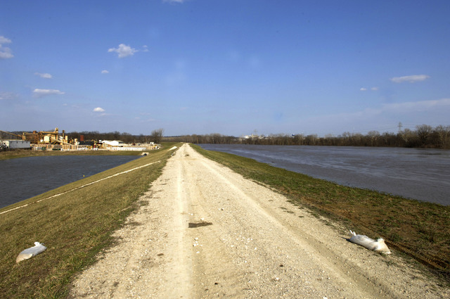 [Severe Storms and Flooding] Valley Park, MO, March 21, 2008 -- A levee successfully holds back flood waters from residential areas.  Jocelyn Augustino/FEMA