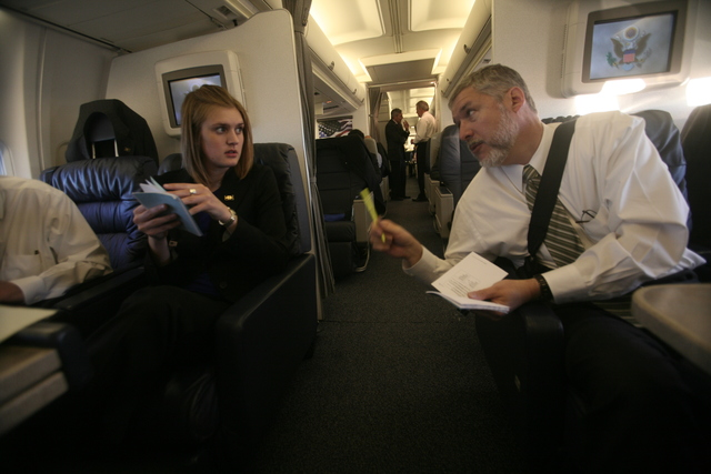 David Addington and Lucy Tutwiler Aboard Air Force Two En Route to Jerusalem