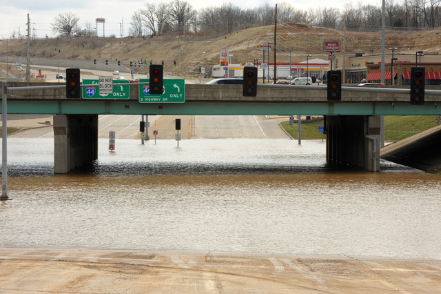[Severe Storms and Flooding] Valley Park, MO, March 23, 2008 -- Flooding has made using this roadway under the interstate impassable.  Water remains  in neighborhoods near the Meramec River.  Jocelyn Augustino/FEMA