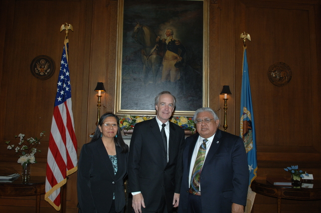[Assignment: 48-DPA-04-02-08_SOI_K_Coochise] Secretary Dirk Kempthorne [meeting at Main Interior with representatives from Bureau of Indian Affairs-funded Tribal Court Review Project Team:] Elbridge Coochise, [long-time Tribal Court judge, former President of the National American Indian Court Judges Association, and member of the Hopi Tribe in Arizona;] and Myrna Rivera, [program manager with the Inter-Tribal Council of California, former Clerk of Court and Court Administrator for the Washoe Tribal Court, and member of the Washoe Tribe of California and Nevada] [48-DPA-04-02-08_SOI_K_Coochise_IOD_2996.JPG]