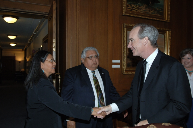 [Assignment: 48-DPA-04-02-08_SOI_K_Coochise] Secretary Dirk Kempthorne [meeting at Main Interior with representatives from Bureau of Indian Affairs-funded Tribal Court Review Project Team:] Elbridge Coochise, [long-time Tribal Court judge, former President of the National American Indian Court Judges Association, and member of the Hopi Tribe in Arizona;] and Myrna Rivera, [program manager with the Inter-Tribal Council of California, former Clerk of Court and Court Administrator for the Washoe Tribal Court, and member of the Washoe Tribe of California and Nevada] [48-DPA-04-02-08_SOI_K_Coochise_IOD_2989.JPG]